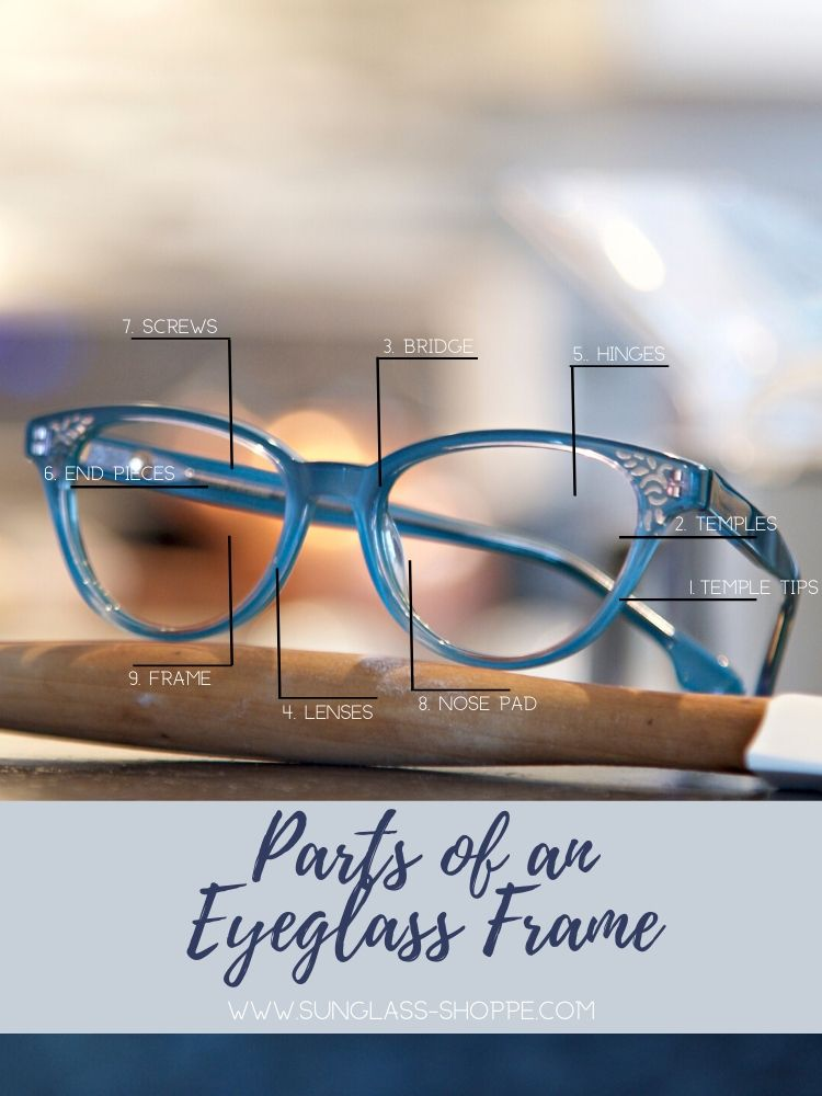 Parts of an Eyeglass Frame from The Sunglass Shoppe in Petoskey, Charlevoix, and Traverse City, MI