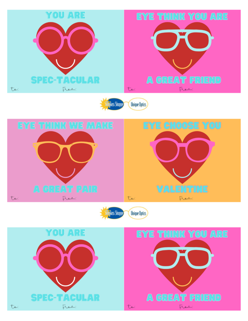 Free printable eyewear Valentine's Day cards from The Sunglass-Shoppe in Northern Michigan.