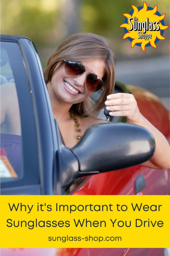 woman driving wearing sunglasses